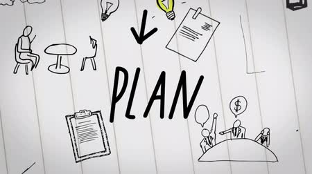 продукты : Colored animation of business plan drawn into notepad with white pages