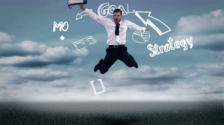 planları : Businessman jumping in front of animated business plan cycle on cloudy background