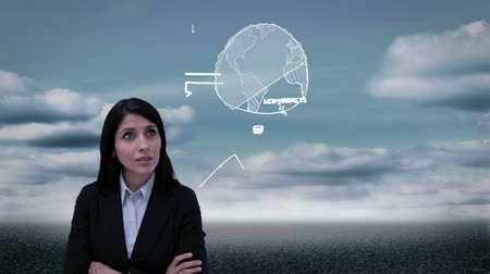 испанец : Content businesswoman starting business plan hologram on cloudy background