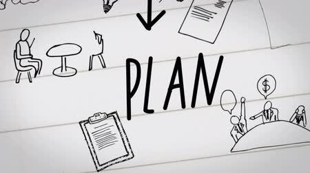 продукты : Digital animation of business plan drawn on notebook on white pages