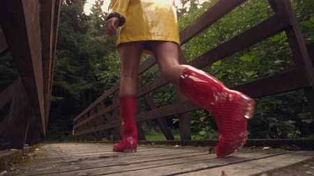 bota : Rear view of brunette walking over wooden bridge in slow motion