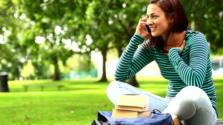 defter : Pretty student talking on phone on the grass at the university