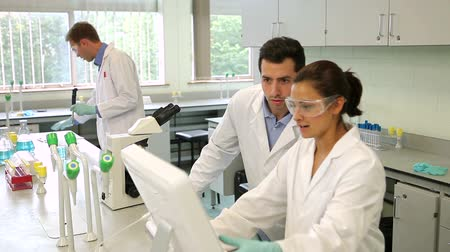 laboratuvar önlüğü : Team of science students working together in the lab at the university