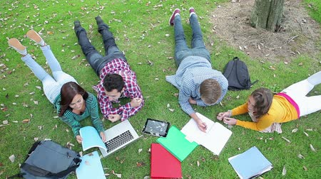 yazarak : Students studying together on the grass on college campus