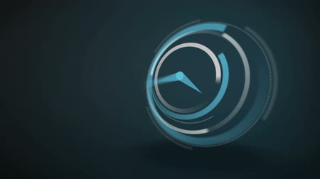 prędkość : Blue clock ticking at speed on dark background