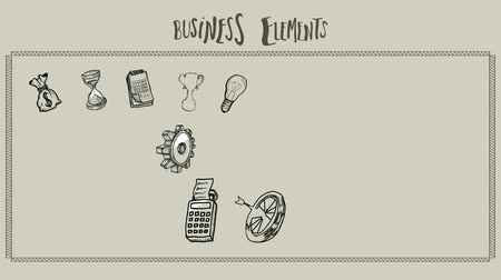 elementler : Business elements doodle appearing animation on pale green background