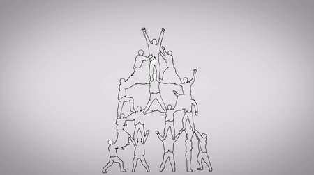 praca zespołowa : Teamwork animation on grey background Wideo