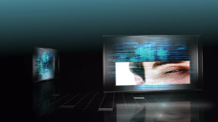 the media : 3D screens showing computing scenes with digital key and man eye