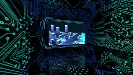 hatalom : 3D screens showing computing scenes with power button and motherboard animation Stock mozgókép