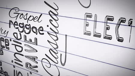 ska : Animation of different music styles appearing on a paper Stock Footage