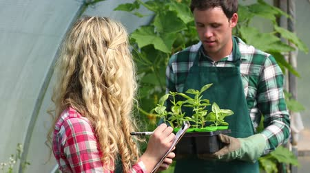 kreş : Young gardener showing plants to pretty blonde buyer taking notes