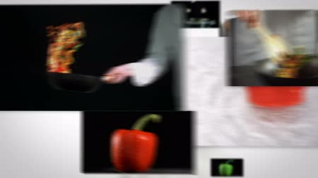 chef cooking : Flying short clips about cooking on white background Stock Footage