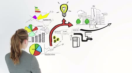 montázs : Colored animation showing business plan and a businesswoman on white background