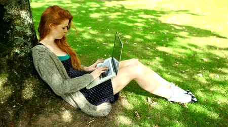vöröshajú : Gorgeous redhead typing on notebook leaning against tree in green park
