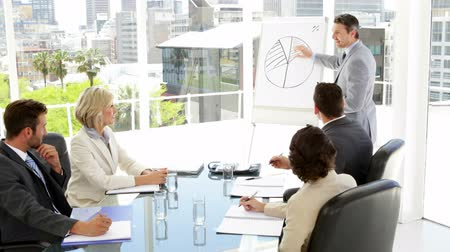 sala de reuniões : Businessman giving presentation to his colleagues in the office Stock Footage