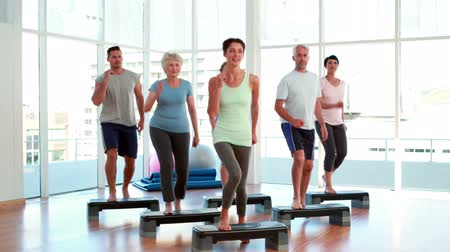 senior lifestyle : Aerobics class stepping together at the gym