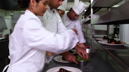 сотрудники : Row of chefs garnishing dessert in a commercial kitchen Стоковые видеозаписи