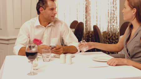feed on : Man feeding his brunette wife in slow motion Stock Footage