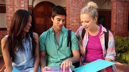 discussão : on college Happy students chatting together outside campus Stock Footage