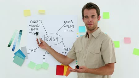 nápad : Designer presenting his ideas on a whiteboard in creative office