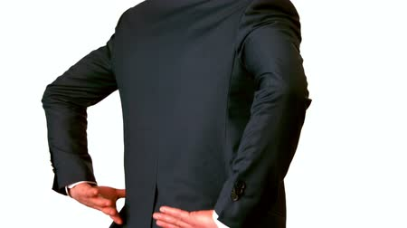kaslı : Businessman touching his painful lower back in slow motion Stok Video