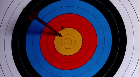 hedef : Arrow shooting at the target in slow motion Stok Video