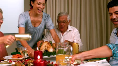 pré natal : Family having christmas dinner at home in slow motion