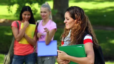 lonely : Lonely student being bullied by her peers on a sunny day Stock Footage