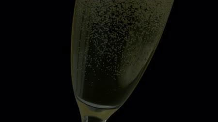 šampaňské : Bubbles rising in champagne glass in slow motion