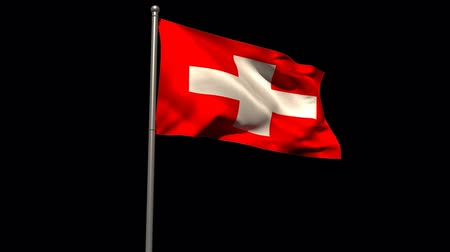 mastro de bandeira : Switzerland national flag waving on flagpole on black background