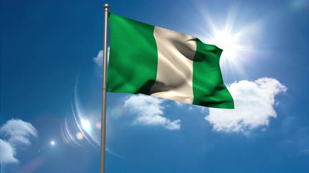 nigeria flag : Nigeria national flag waving on flagpole on blue sky background