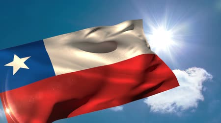 Чили : Chile national flag blowing in the breeze on blue sky background with sun and clouds Стоковые видеозаписи