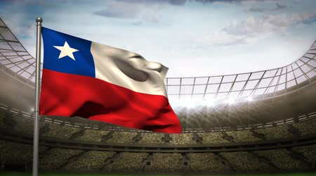 Чили : Chile national flag waving on flagpole in football stadium with flashes