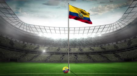 equador : Ecuador national flag waving on flagpole in football stadium with flashes