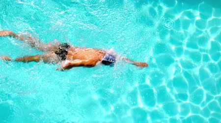 nadador : Athletic swimmer swimming across the pool overhead in slow motion Vídeos