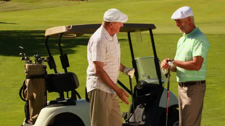 golfe : Two male friends chatting on the golf course by their kart on a sunny day Vídeos