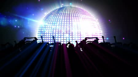 disko : Digital animation of Nightclub with disco ball and dancing crowd Stok Video