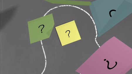 noktalama : Digital animation of Question mark post its in chalk drawn head outline