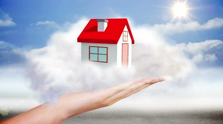 ипотека : Digital animation of Hand presenting house graphic in cloud