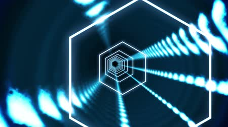 tunel : Digital animation of Hexagon blue vortex design on black