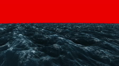 mar vermelho : Digital animation of Stormy blue ocean under red screen sky  Vídeos