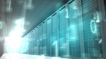 high tech : Digital animation of Binary code in server room