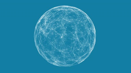 spojení : White technology sphere connectivity animation on blue background