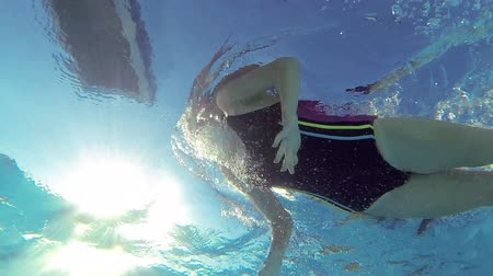 pływak : Female swimmer swimming in pool filmed with go pro camera