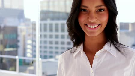 sofisticado : Pretty businesswoman smiling at camera in her office Stock Footage