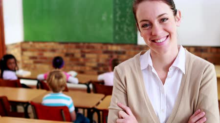 učitel : Pretty teacher smiling at camera at top of classroom in elementary school
