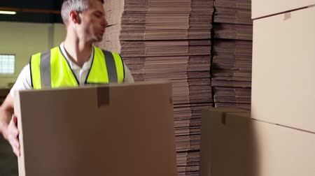 перевозка груза : Warehouse worker stacking cardboard boxes in a warehouse Стоковые видеозаписи