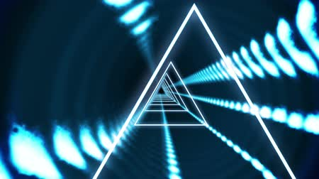 trójkąt : Digital animation of Triangle vortex design on black Wideo