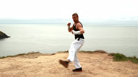 disciplina : Fit man practicing martial arts overlooking the ocean Stock Footage