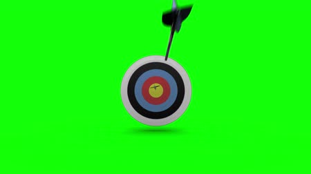 цель : Arrows flying towards dart board and hitting target on blue background